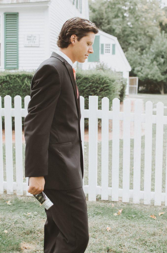 Groom Jesse Birden before the church wedding in Newtown, CT