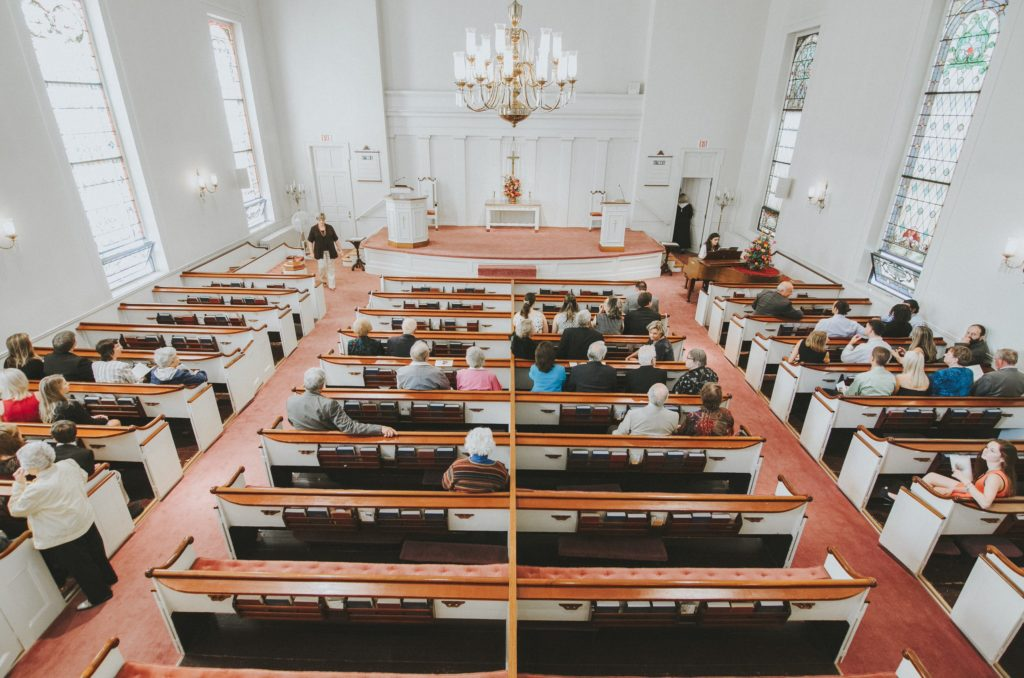 An aerial view of the church where Erin and Jesse Birden were wed in Newtown, CT