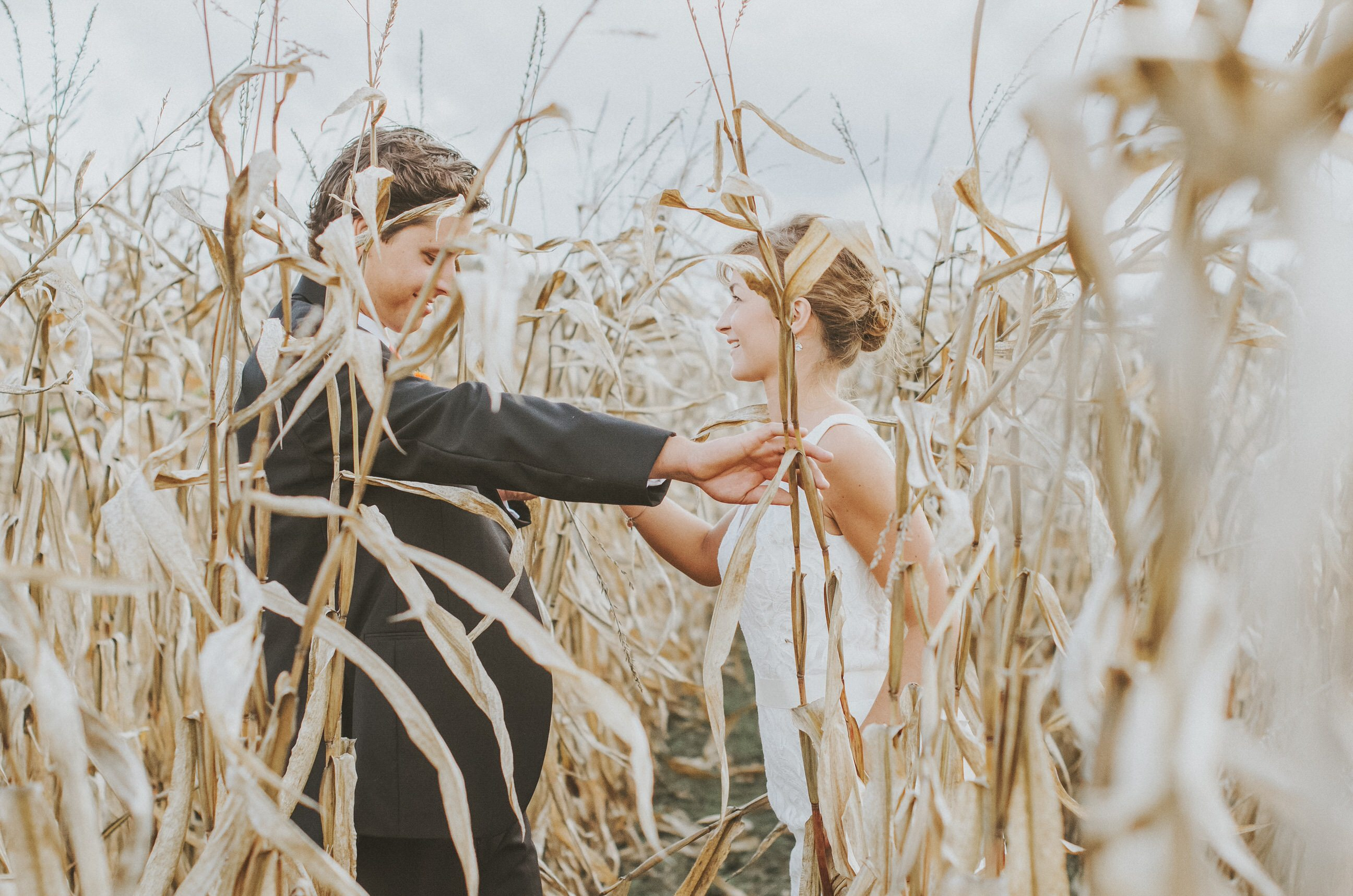 A couple's portrait of the newlyweds Erin and Jesse Birden in a farm field in Newtown, CT