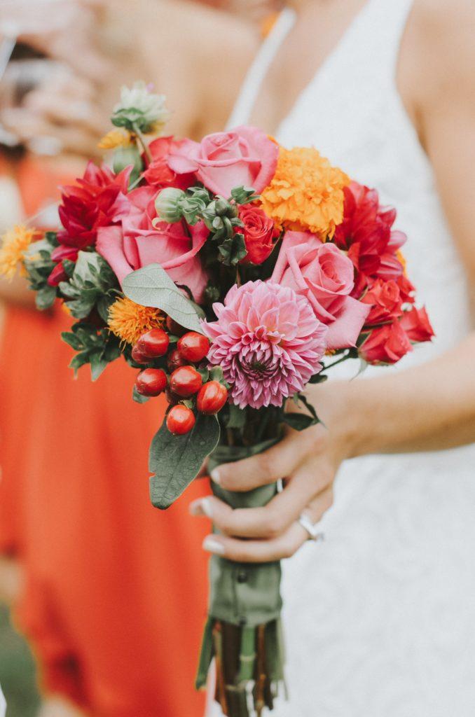 Bridal bouquet of Erin Birden at her rustic wedding in Newtown, CT